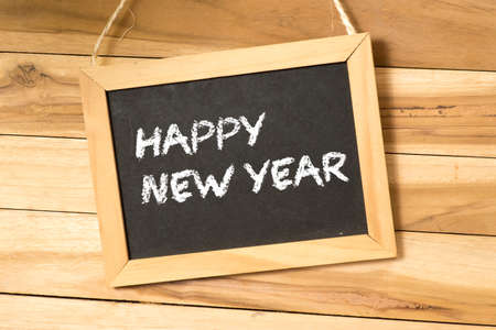New Year wishes on a chalk board