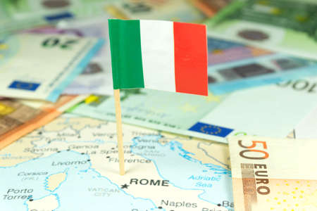Italy, money and map