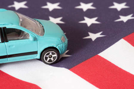 Flag of the USA and a car Stock Photo