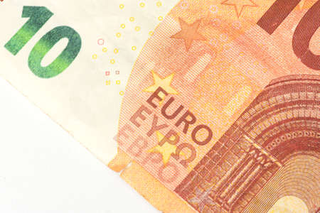 A close-up of the 10 Euro bill