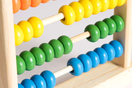 A traditional abacus with colorful beads