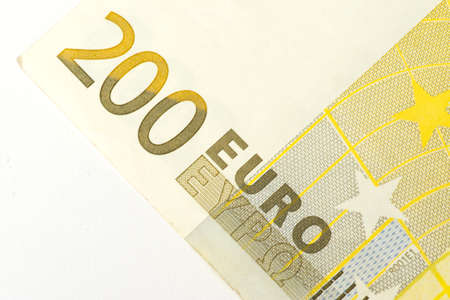 A close-up of the 200 Euro bill Stock Photo