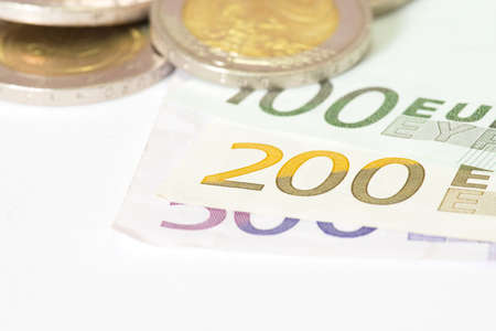 Euro bills and coin