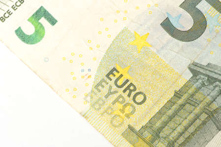 A close-up of the 5 Euro bill Imagens
