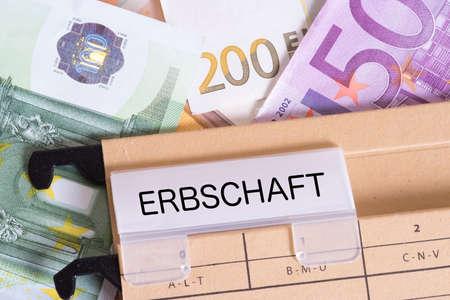 Euro bills and the inheritance Standard-Bild - 101906390