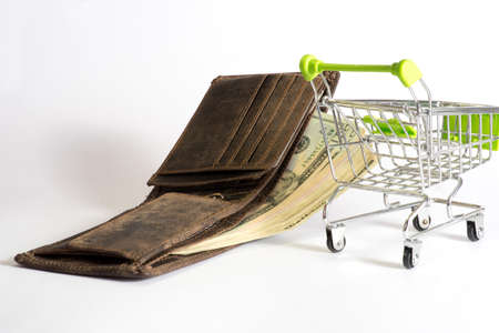 A shopping cart, purse and US dollar bills