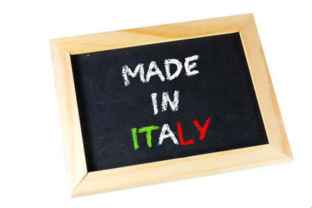 A chalkboard with the text Made in Italy