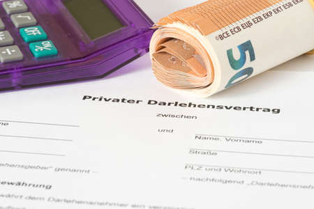 A private loan agreement and euro banknotes