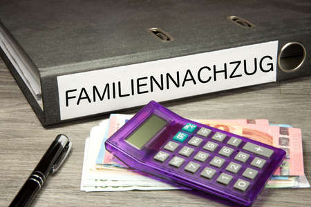 Euro banknotes, calculator and folder with family imprint