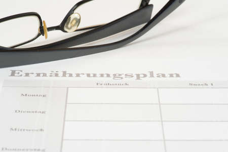 A nutrition plan for healthy living and reading glasses