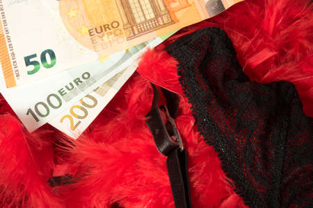Euro bills and lingerie of a prostitute Stock Photo