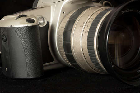 Close-up of an old, analogue photo camera Stock Photo