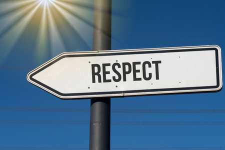 An arrow and reference to the respect Stock Photo