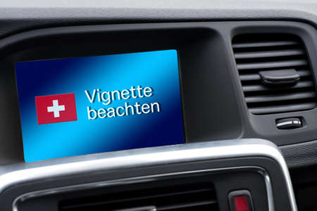 A message in the car with reference to Vignette duty in Switzerland
