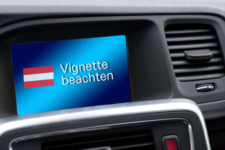 A message in the car with a note on Vignette duty in Austria