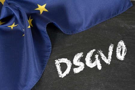 Flag of the EU, Chalkboard and Data Protection Basic Regulation Stock fotó