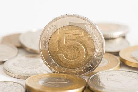 Close-up of coins Polish zloty PLN