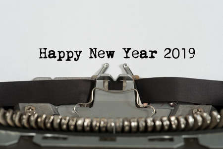 A typewriter and wishes for the new year 2019 Stock Photo