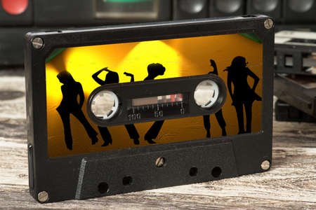 A music cassette with the disco music on the 70th
