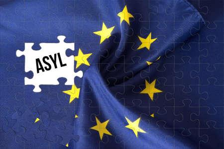 Flag of the European Union EU, puzzle and asylum Stockfoto - 104588533