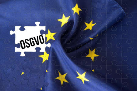 Puzzle, flag of the European union EU and DSGVO data protection basic regulation
