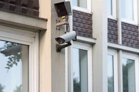 A security camera at a building