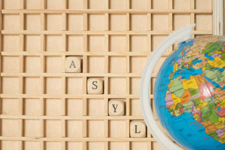 A globe and the word asylum Banco de Imagens