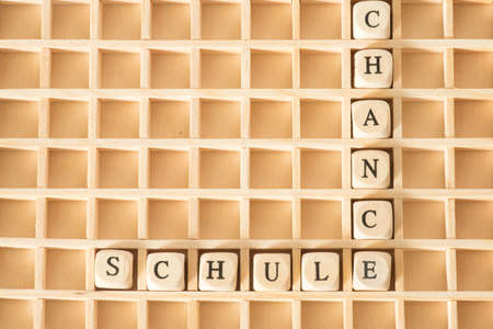 Wooden letters and words School and Chance Stock Photo