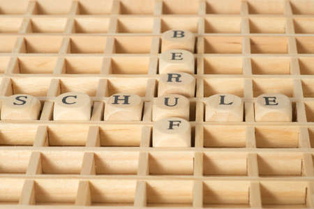 Wooden letters and words School and profession Stock Photo