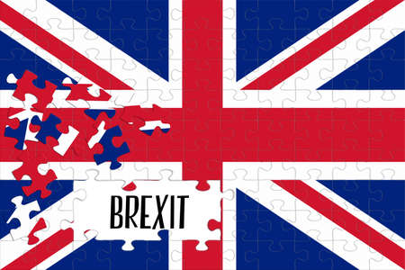 Flag of Great Britain as a puzzle and Brexit Reklamní fotografie