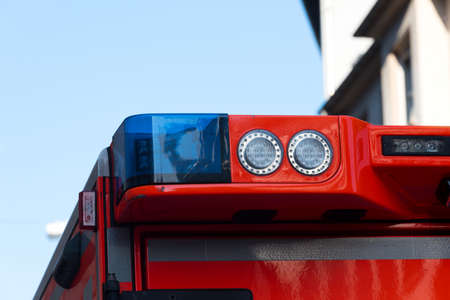 Blue light from an ambulance Stock Photo