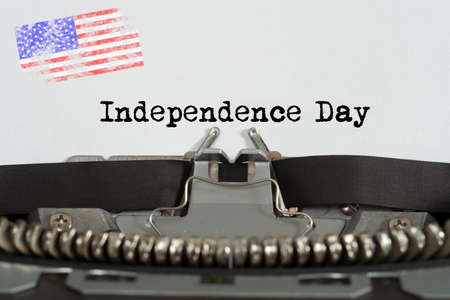 Typewriter, Flag of the USA and Independence Day in America