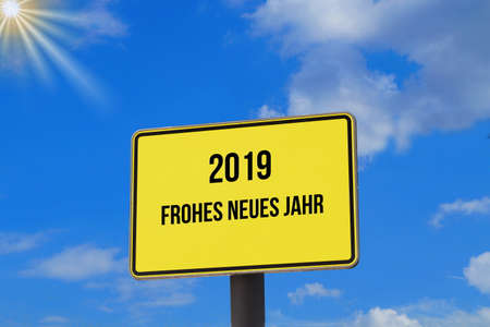 A sign indicating New Year 2019 Stock Photo