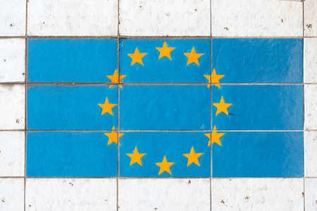 Flag of the European Union EU painted on an exterior facade
