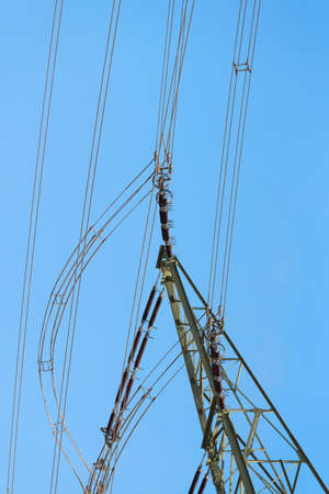 Close-up of a high voltage pylon Stock Photo