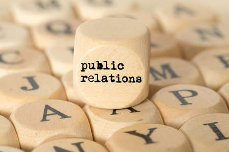 Different letters and a cube with the term Public Relations Stok Fotoğraf - 105438941
