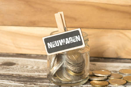 A mason jar and save money for new car Stock Photo