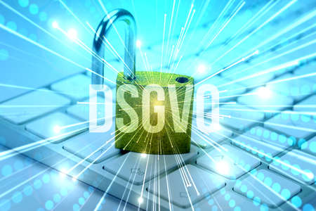 A computer, padlock and DSGVO privacy policy