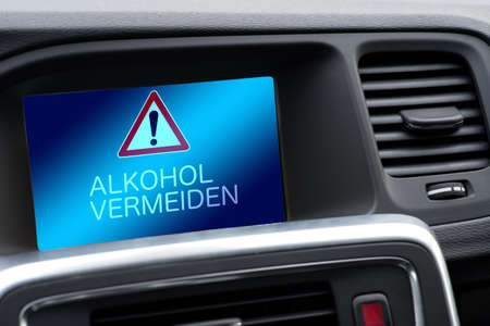 Interior of a car and warning of drunk driving