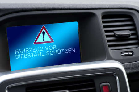 Interior of a car and warning of theft of the vehicle