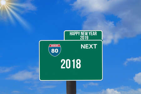 A road sign points to New Year's Eve 2019 and the end of 2018