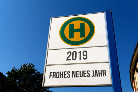 A sign indicating New Year 2019 Standard-Bild