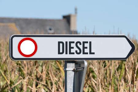 A sign indicates diesel driving ban Banco de Imagens