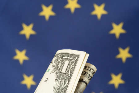 Flag of the European Union EU and a dollar bill 스톡 콘텐츠