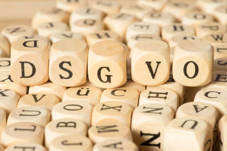 Wooden letters and data protection basic regulation DSGVO Standard-Bild
