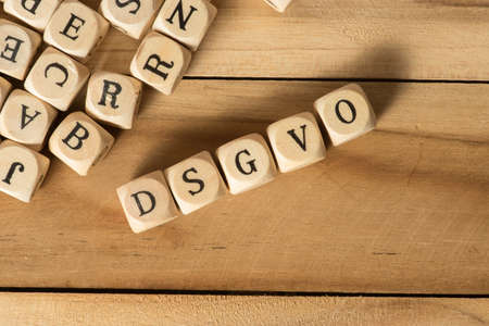 Wooden letters and data protection basic regulation DSGVO Stock Photo