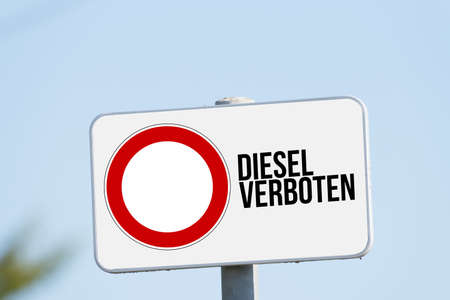 A sign indicates diesel driving ban Stok Fotoğraf