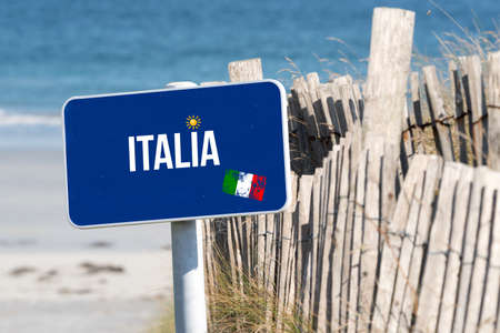 Sea, beach, vacation and a sign indicating travel to Italy
