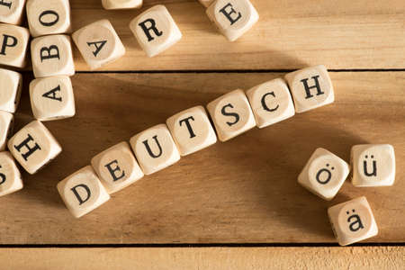 Different letters, German umlauts and the word German Stock Photo