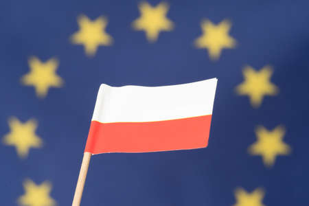 Flag of Poland and the European Union EU